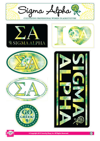 Sigma Alpha <br> Tie Dye Stickers