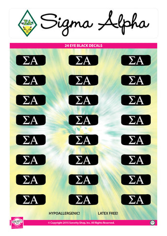 Sigma Alpha <br> Eye Black Decals. <br> 24 Per sheet.