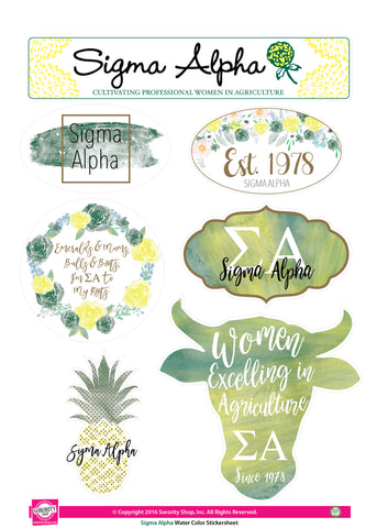 Sigma Alpha <br> Water Color stickers