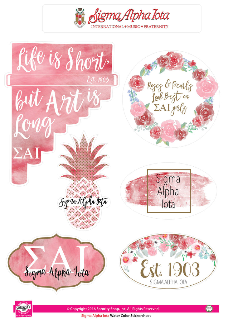 Sigma Alpha Iota Water Color stickers