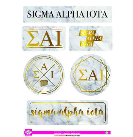 Sigma Alpha Iota Marble Sticker Sheet