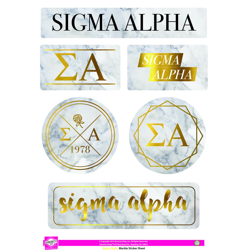 Sigma Alpha Marble Sticker Sheet