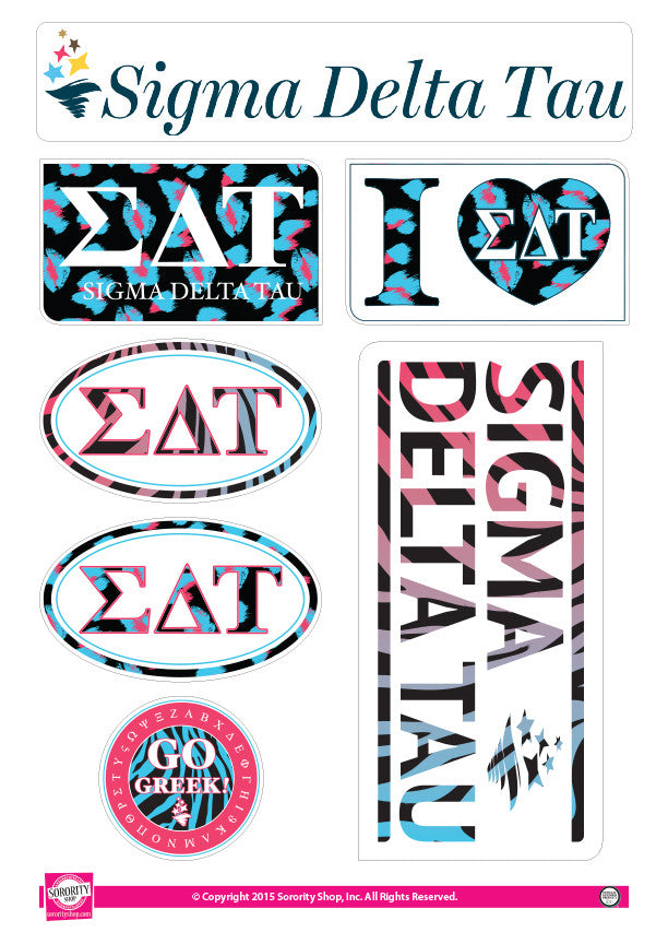 Sigma Delta Tau <br> Animal Print Stickers