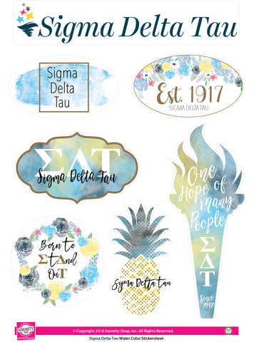 Sigma Delta Tau <br> Water Color stickers