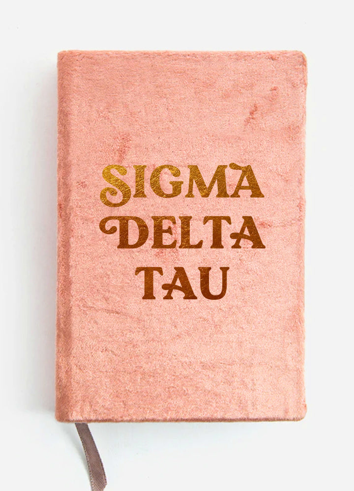 Sigma Delta Tau Velvet Notebook with Gold Foil Imprint