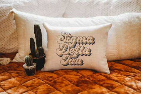 Sigma Delta Tau Retro Throw Pillow