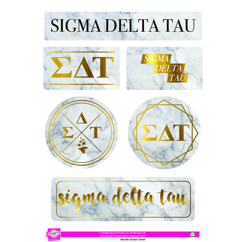 Sigma Delta Tau <br> Marble Sticker Sheet