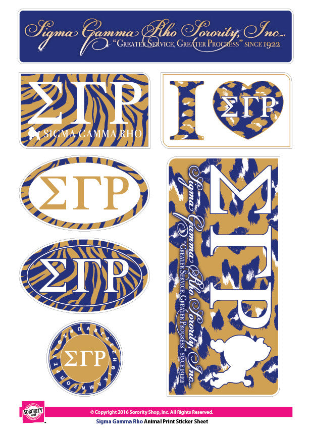 Sigma Gamma Rho <br>Animal Print Stickers