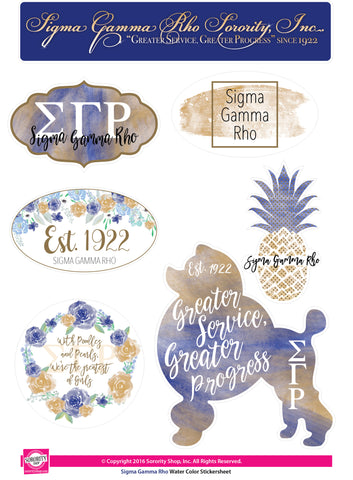 Sigma Gamma Rho Water Color stickers