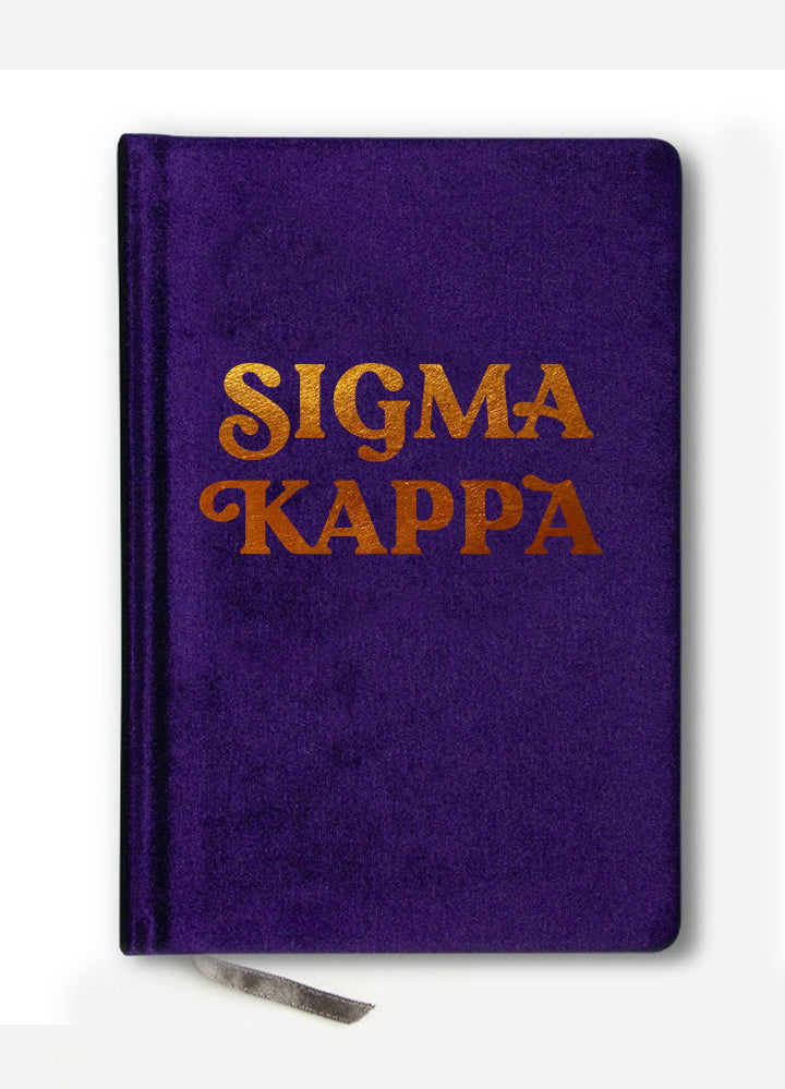 Sigma Kappa Velvet Notebook with Gold Foil Imprint