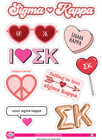 Sigma Kappa- Sticker Sheet- Love Theme