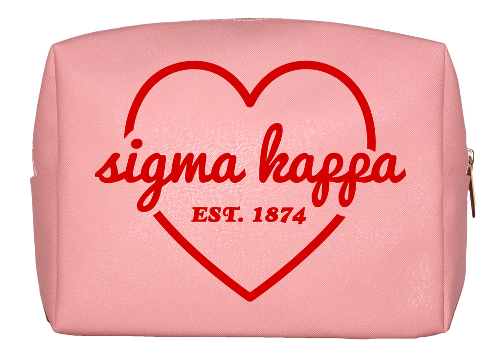 Sigma Kappa Pink w/Red Heart Makeup Bag