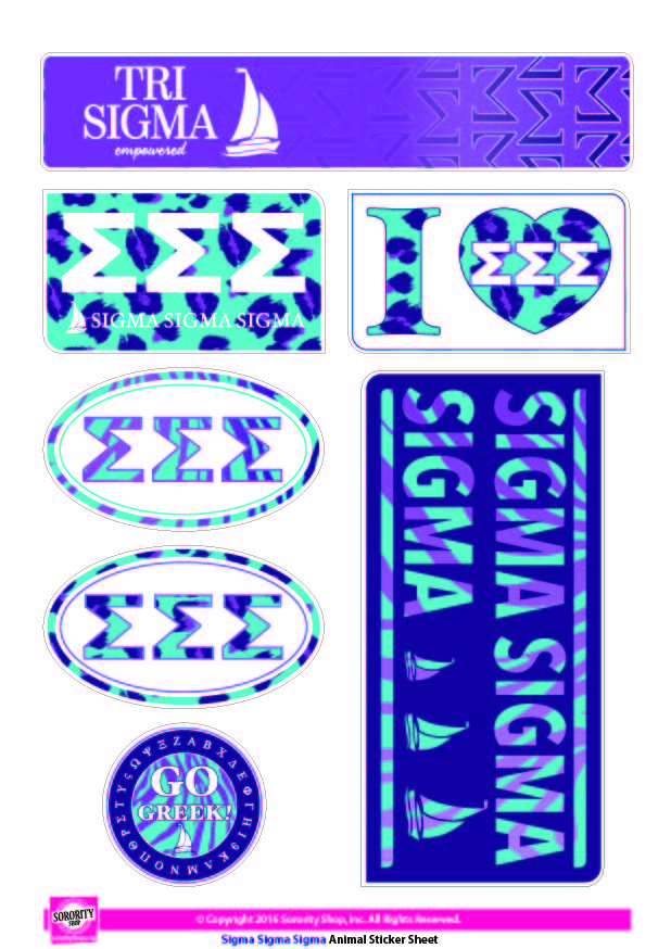 Sigma Sigma Sigma <br> Animal Print Stickers