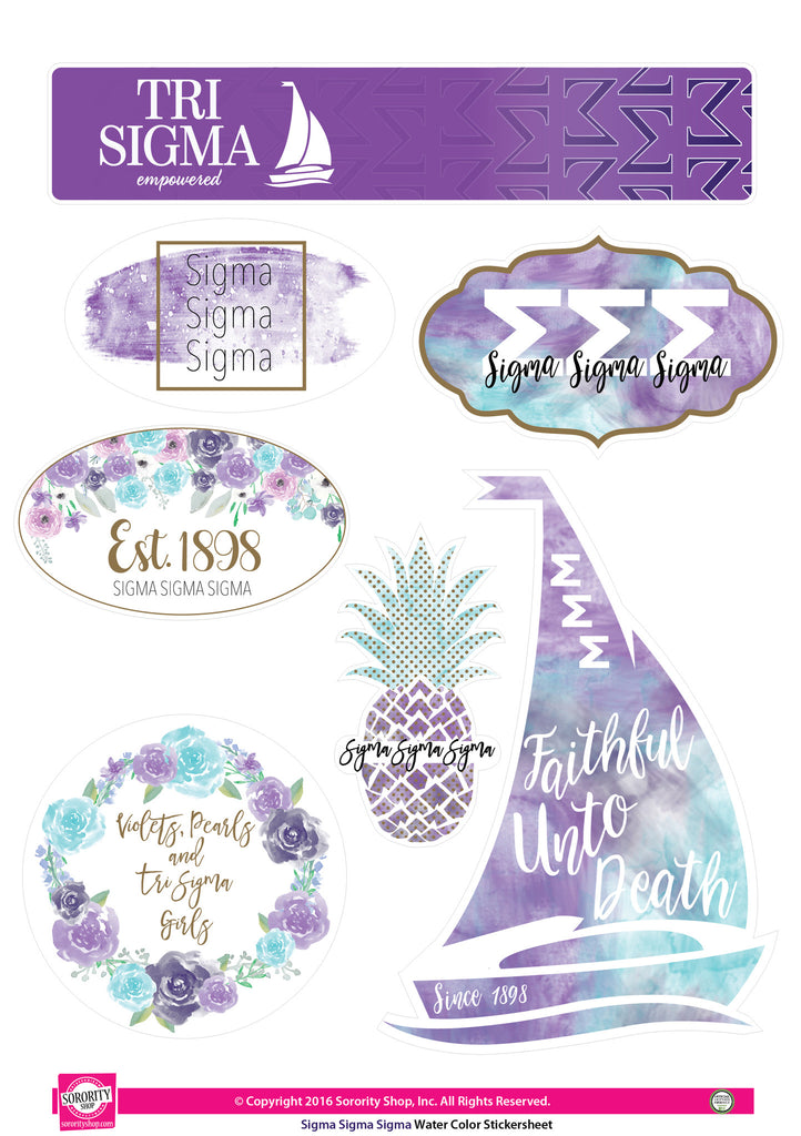 Sigma Sigma Sigma Water Color stickers