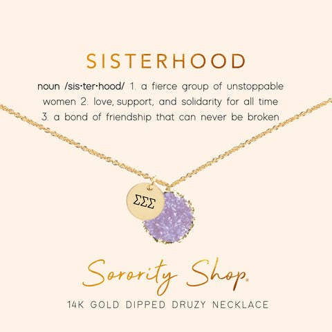 Sigma Sigma Sigma Sisterhood Druzy Necklace