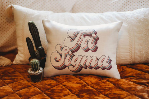 Sigma Sigma Sigma Retro Throw Pillow