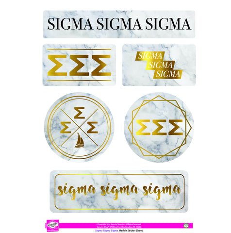 Sigma Sigma Sigma Marble Sticker Sheet