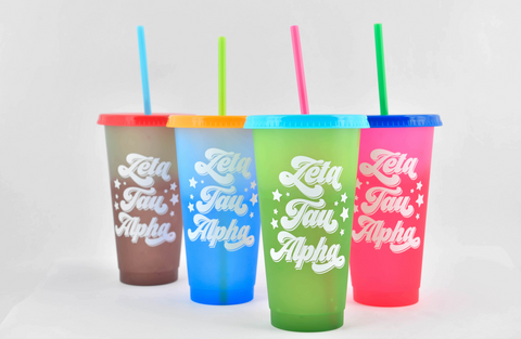 Zeta Tau Alpha Color Changing Cups (Set of 4)