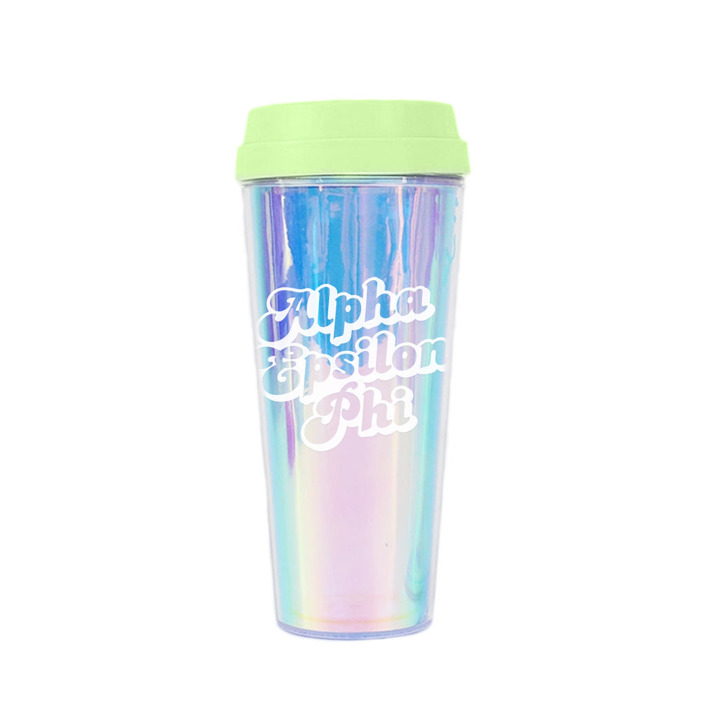 Alpha Epsilon Phi Retro Style Sorority Tumbler