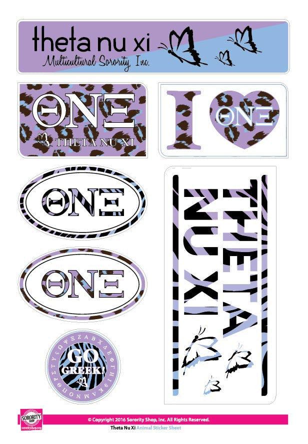 Theta Nu Xi <br>Animal Print Stickers