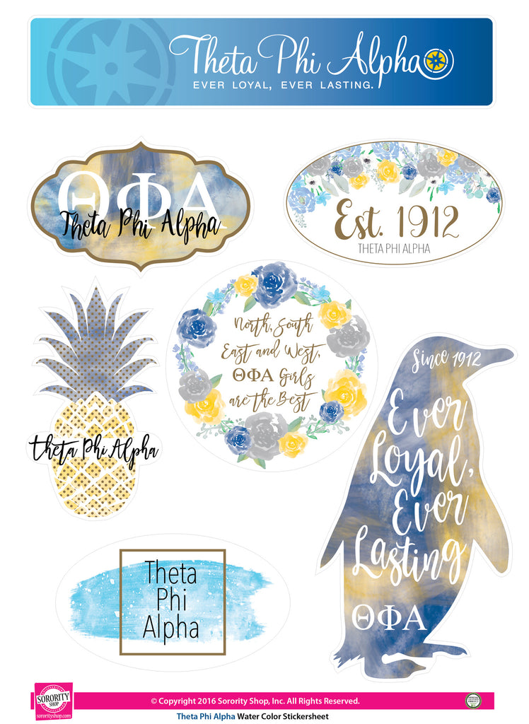 Theta Phi Alpha <br> Water Color stickers