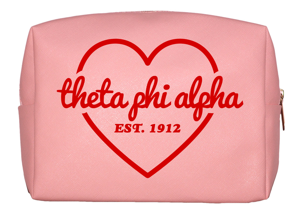Theta Phi Alpha Pink w/Red Heart Makeup Bag