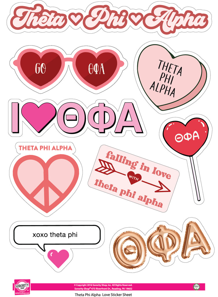 Theta Phi Alpha- Sticker Sheet- Love Theme