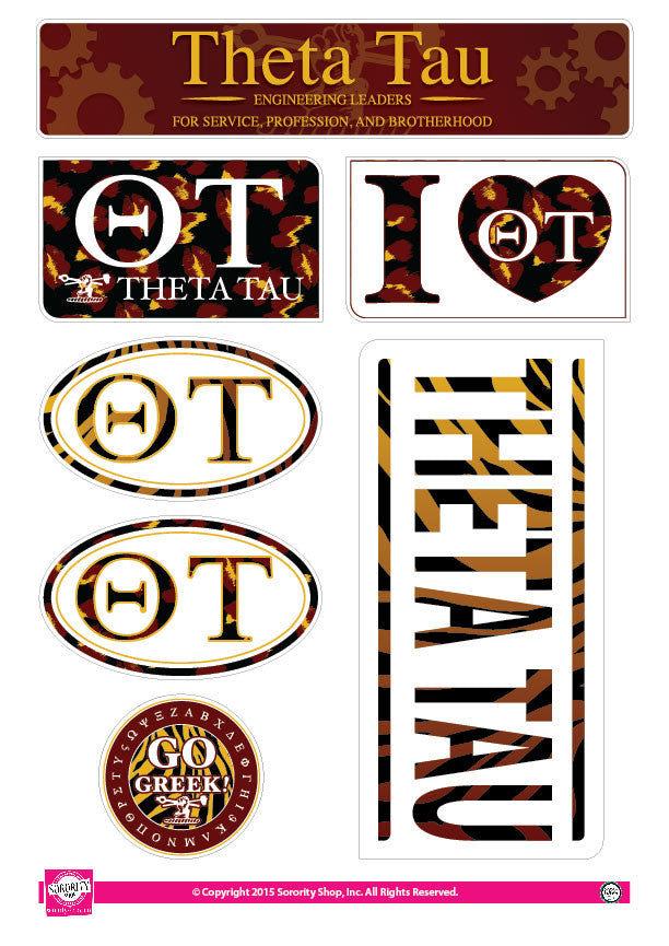 Theta Tau <br> Animal Print Stickers