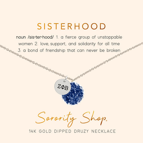 Zeta Phi Beta Sisterhood Druzy Necklace