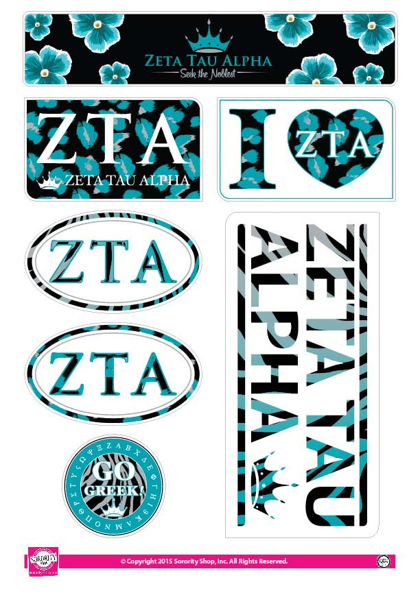 Zeta Tau Alpha <br> Animal print Stickers