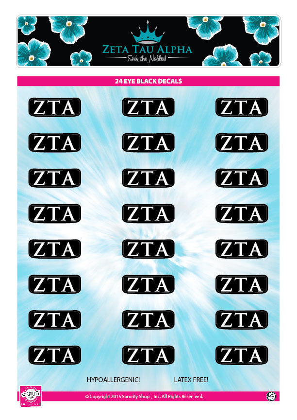 Zeta Tau Alpha Eye Black Decals