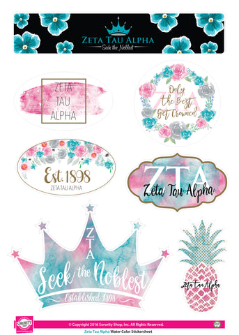 Zeta Tau Alpha <br> Water Color stickers