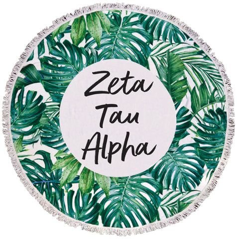 Zeta Tau Alpha Palm Leaf Fringe Towel Blanket
