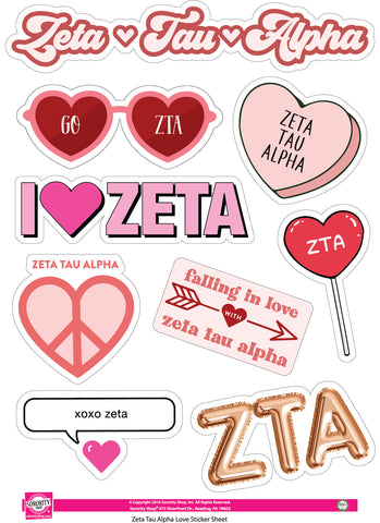 Zeta Tau Alpha- Sticker Sheet- Love Theme