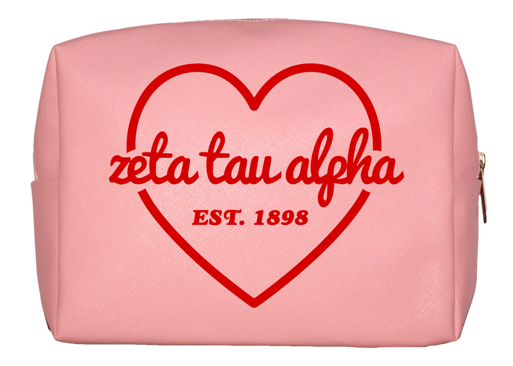 Zeta Tau Alpha Pink w/Red Heart Makeup Bag