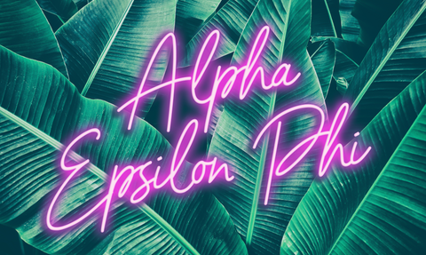 Alpha Epsilon Phi Neon Palm Flag