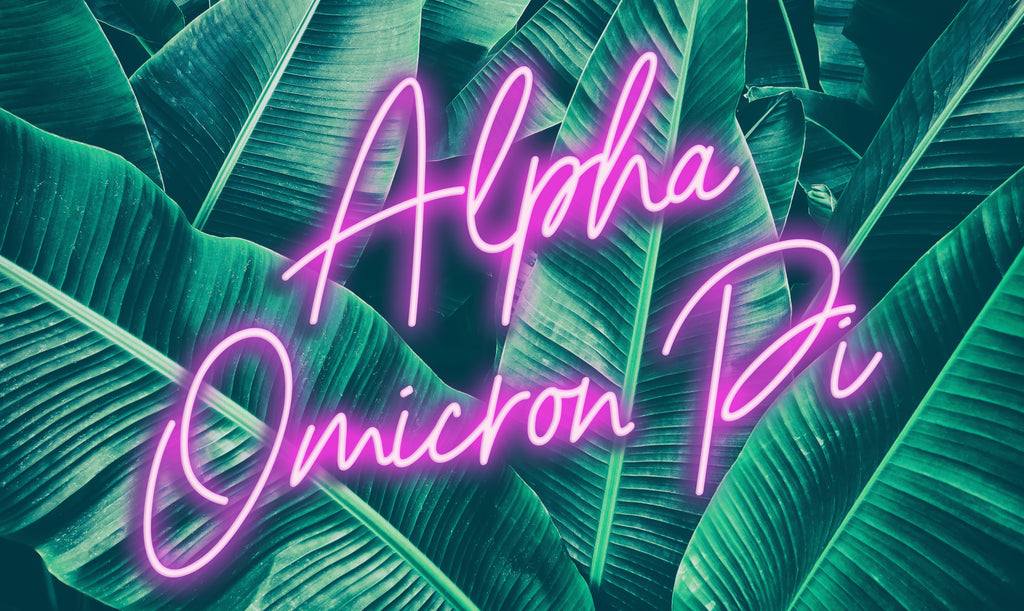Alpha Omicron Pi Neon Palm Flag