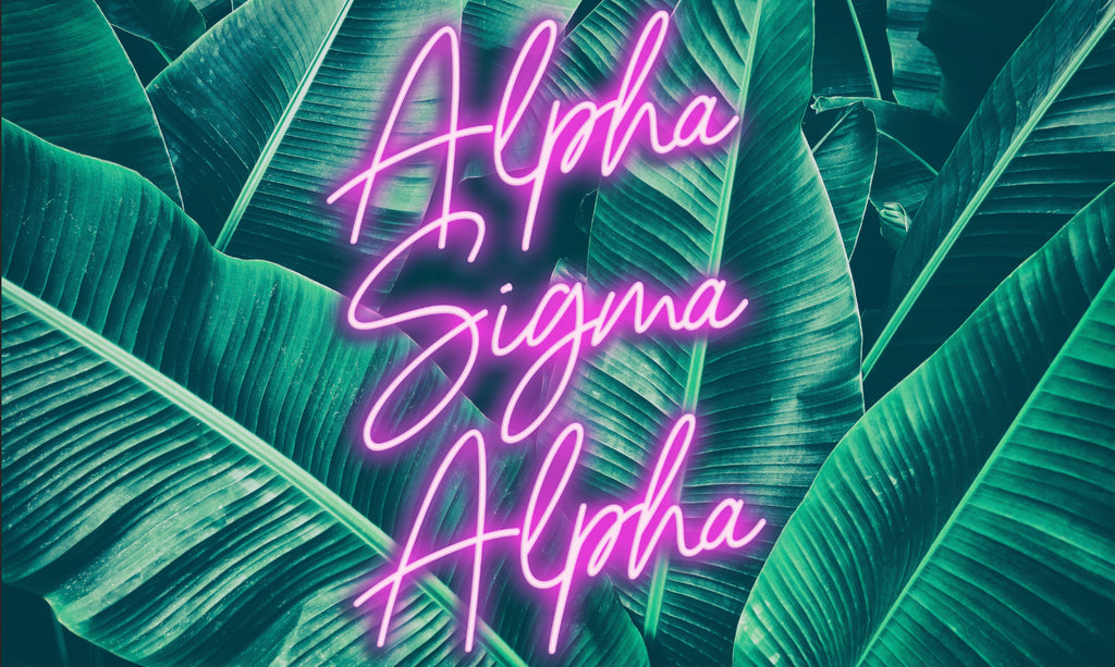 Alpha Sigma Alpha Neon Palm Flag