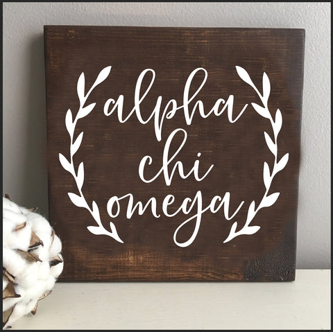 Alpha Chi Omega Wooden Wall Art