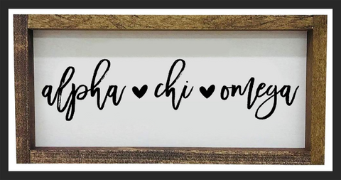 Alpha Chi Omega Script Wooden Sign