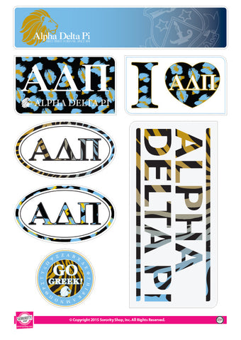 Alpha Delta Pi Animal Print Stickers