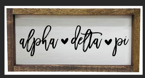 Alpha Delta Pi Script Wooden Sign