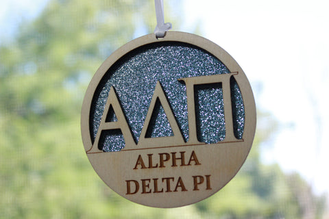 "Alpha Delta Pi - Laser Carved Greek Letter Ornament - 3"" Round"