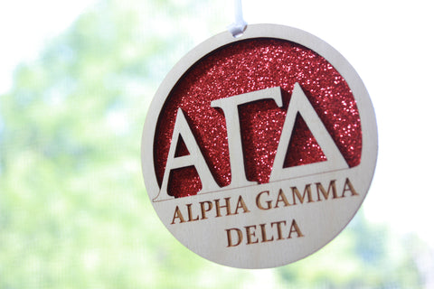 "Alpha Gamma Delta - Laser Carved Greek Letter Ornament - 3"" Round"