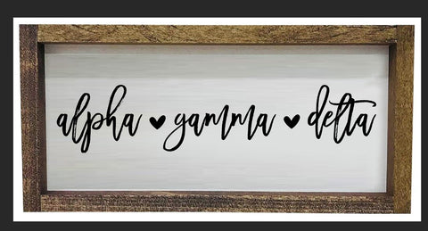 Alpha Gamma Delta Script Wooden Sign