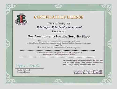 Alpha Kappa Alpha License Certificate