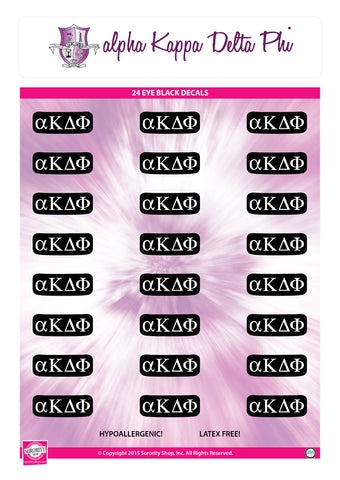 Alpha Kappa Delta Phi <br> Eye Black Decals. <br> 24 Per sheet.