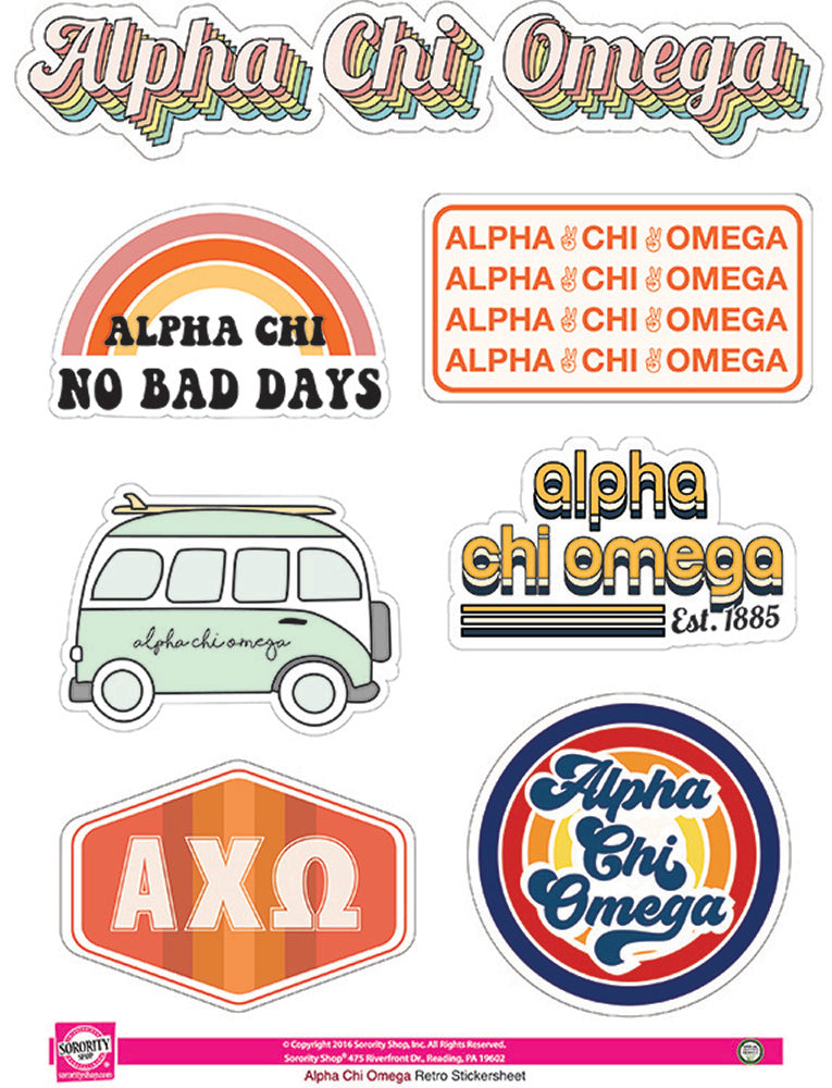 Alpha Chi Omega Retro Sticker Sheet