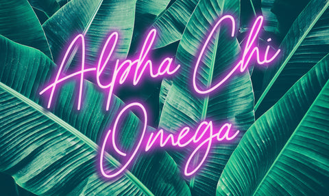Alpha Chi Omega Neon Palm Flag