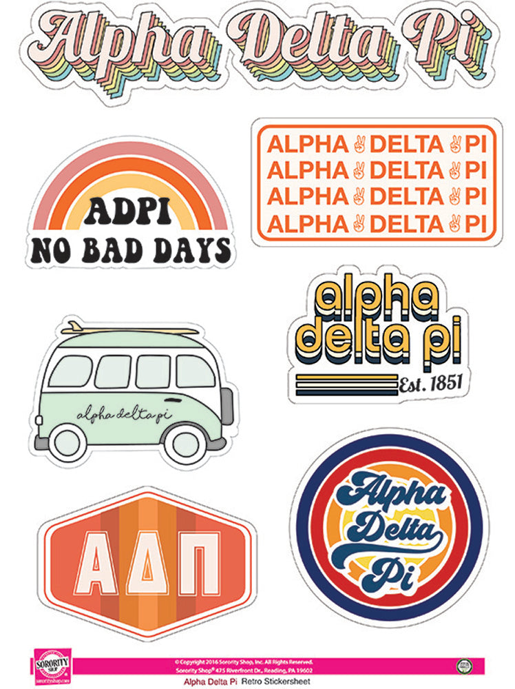 Alpha Delta Pi Retro Sticker Sheet